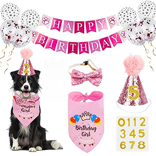 Dog Birthday Bandana Girl, VIPITH Cute Dog Birthday Party Supplies with Happy Birthday Banner Bow Tie Hat Banner Balloons Cake Topper for Pet Puppy Cat Birthday Decorations (Pink/Girl)