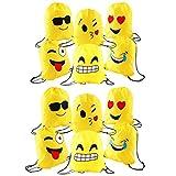 JZK 12 Pezzi Emoji Zaino con Coulisse Sacchetto del PE per Bambini e Adulti Festa di Compleanno Bambini bomboniare Borsa Sacchetto Festa