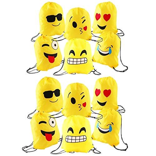 JZK 12 x Mooie emoji gymtas sporttas gymtas met trekkoord voor kinderen & volwassenen verjaardagsfeestje prima tas, partyzakvuller