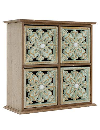 FTLhome Mini Kommode Schubladen Holz Mandala Schmuckkästchen Braun Grün Retro Shabby Vintage Schrank mit 4 Schubladen 24 x 9.9 x 23.4 cm