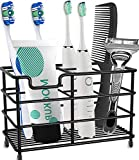 Toothbrush Holder Stainless Steel Rustproof Bathroom Electric Toothbrush Holder Toothpaste Storage Organizer Stand for Vanity Countertops (Black-01, Large)