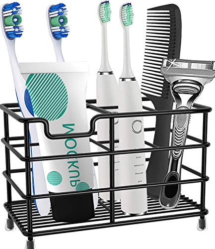 HYRIXDIRECT Toothbrush Holder Stainless Steel Rustproof Bathroom Electric Toothbrush Holder Toothpaste Storage Organizer Stand for Vanity Countertops (Black-01, Large)