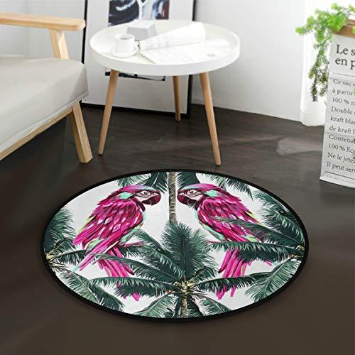 AMONKA - Alfombra redonda para bebé con diseño de rosas rojas y coco, antideslizante, para dormitorio, sala de juegos, decoración del hogar (diámetro de 91,9 cm)