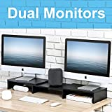 FITUEYES Dual Monitor Stand Wood Swivel Length Adjustable PC Laptop Computer Screen Riser