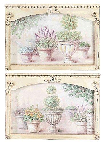 DiKasa Home Set Pannelli Vasi Fiori, Legno, Multicolore, 61x2x35 cm