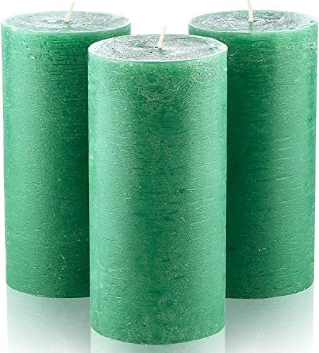"""Set of 3 Dark Green Unscented Pillar Candles 3"""" x 6"""" Emerald Candle for Weddings Restaurant Home Decoration Spa Church Smokeless"""