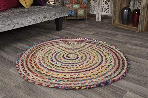 Mishran Eco Friendly Medium Round Braided Rug Flat Weave with Natural Jute and Multi Colour Recycled Material 120 cm Diameter