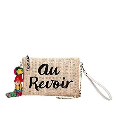 Melie Bianco St. Tropez Au Revoir Or Bonjour Designer Clutch W/ Straw Case