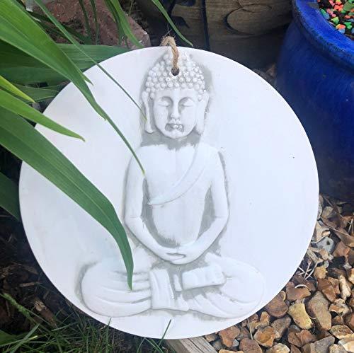 Mezzaluna Gifts Wandschild zum Aufhängen, Terrakotta, Mond, Buddha