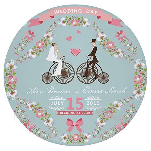 Mesllings Happy Wedding Date Your Date Personalization Home Impreso Moda Redondo Cómodo Asiento Cojines Cojines de Silla Cojines de Oficina Suave Cojín – Diámetro 15.35 pulgadas