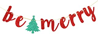 INNORU Red Glitter Be Merry Banner - Christmas Party Decor - Happy New Year Party Sign