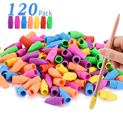 Sooez Pencil Erasers, Pencil Top Erasers Cap Erasers Eraser Tops Pencil Eraser Toppers School Erasers for Kids School Supplies for Teachers Eraser Pencil Erasers, Assorted Color(120 Pack)