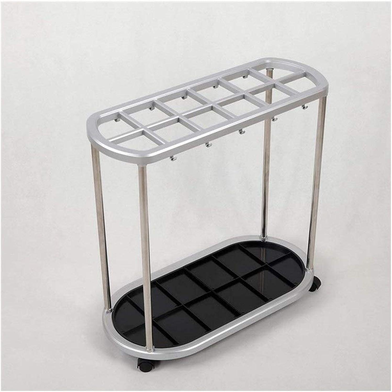 Indoor Umbrella Stand, Non-Slip Floor-Standing 12 Hole 10 Hook Umbrella Stand Hotel Office 560X280X550mm Silver