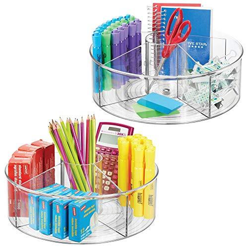 mDesign - Draaiplateau - bureau-organizer/carrousel - voor een opgeruimd bureau/voor het opbergen van schrijfgerei in huis of op kantoor - Doorzichtig - per 2 stuks verpakt