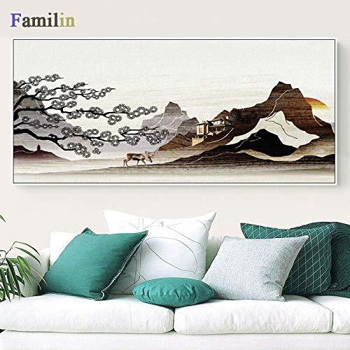 ganlanshu Nordisches Waldhirschölgemäldekunstplakat Kinderzimmertier-Tierheimdekoration,Rahmenlose Malerei,40X80cm