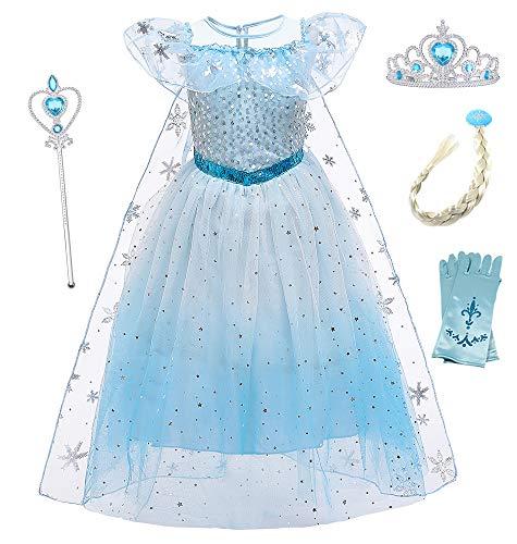 O.AMBW Disfraces para Nias Cosplay Elsa Frozen Disfraz Princesa Vestido Elsa Disfraz Infantil Regalo de Cumpleaos Carnaval Fiesta De Navidad Vestido Princesa Nia Disfraces y Accesorios