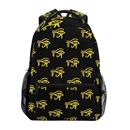 College Bag Golden Eye of Horus Ankh Printed Stylish Gift Backpack Lightweight Student Unique College Travel School Shoulder Bag Casual Durable Bookbag
