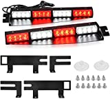 Red White Visor Lights, YITAMOTOR 2-16 LED 96W 15 Flash Patterns Emergency Visor Strobe Lights Windshield Interior Split Mount Visor Light Bar with Extended Bracket (18 Inch - Red & White)