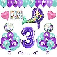 誕生日 飾り付け 誕生日 バルーン 女の子 マーメイド パーティー人魚 パーティーの装飾 キラキラマ 装飾 付きハッピーバースデー (数字「3」)