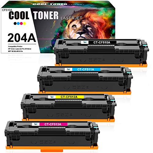 Cool Toner Compatible Toner Cartridge Replacement for HP 204A CF510A Toner HP Color LaserJet Pro MFP M180nw M180n M181fw M154nw M154a CF511A CF512A CF513A Printer (Black Cyan Yellow Magenta, 4-Pack)