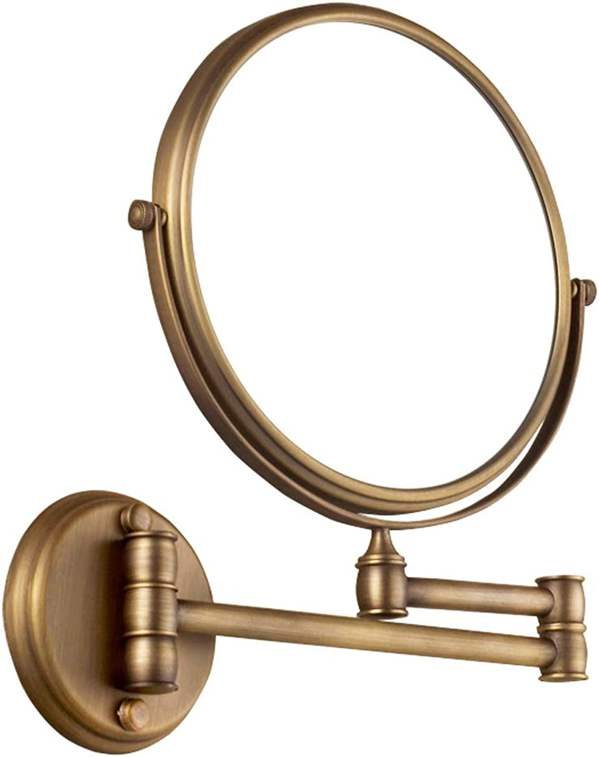 Wall-Mounted Mirror 3X Magnification 8 Inch Double-Sided Swivel Vanity Makeup Mirror, Brushed Copper