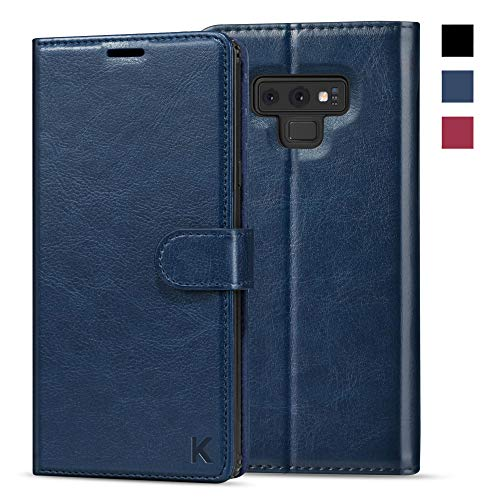 KILINO Galaxy Note 9 Wallet Case [S-Pen Fully Compatible] [PU Leather] [Soft TPU] [RFID Blocking] [Shock-Absorbent Bumper] [Card Slots] [Kickstand] Flip Folio Cover for Samsung Galaxy Note9 - Blue