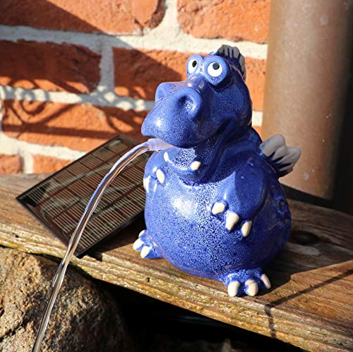 Gartenzaubereien Wasserspeier Drache blau, Solarpumpe