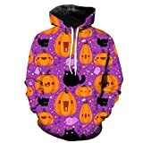 Holzkary Men's Horror Halloween Costume Funny 3D Printed Party Pullover Tops Casual Long Sleeve Hoodie Sweatshirts(XL.Purple)