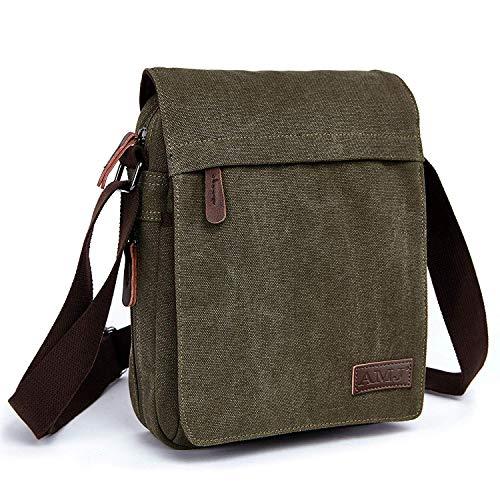 AMJ Canvas Messenger Bag, Sling Bag Crossbody Shoulder Bags for Travel Work Business Men Women, Green Eco Friendly Messenger Bag