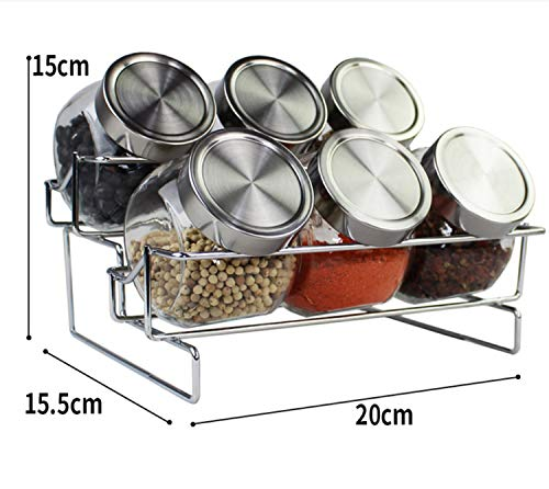 BIANJESUS Cocina Rack Holder Glass Stainless Steel Hogar Hogar Spice Tank Rack...