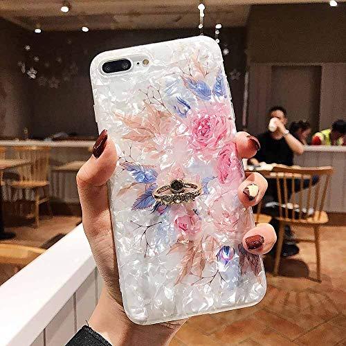 QWP Caso de Shell Textura de la Flor del teléfono for el iPhone 11 Pro XR XS MAX 6 7 8 Plus 6S Suave IMD Dedo anular de Cristal Cubierta Trasera del teléfono