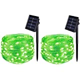 BOLWEO St. Patrick's Day 2 Pack Solar Fairy Lights ,16.4Ft 50LEDS Outdoor Solar String Lights, IP65 Waterproof Wire Lighting for Christmas Tree Halloween Home Garden Wedding Party Decoration(Green)
