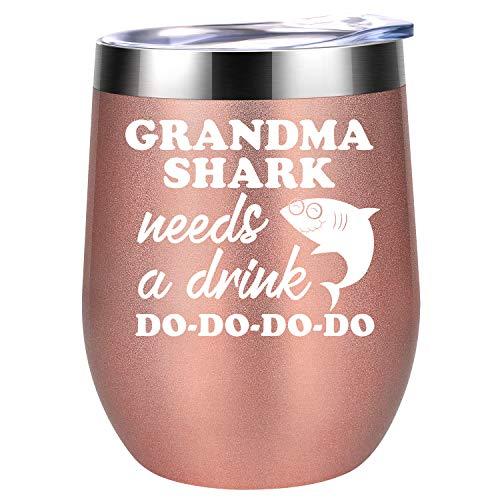 Coolife Tasse à vin avec inscription « Grandma Shark Needs a Drink » rose gold