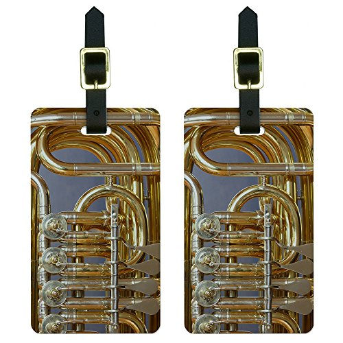 Graphics & More Brass Instrument-Music Luggage Tags Suitcase Carry-on Id, White