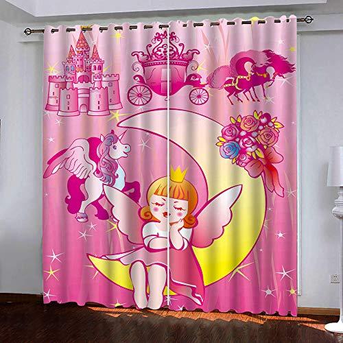 HomeAZWQ Vorhänge Blickdicht,Vorhang Verdunkelung Mit Ösen,Gardinen Kinderzimmer,Cartoon-Mädchen, Traumschloss Rosa Für Schlafzimmer H150 X W250Cm