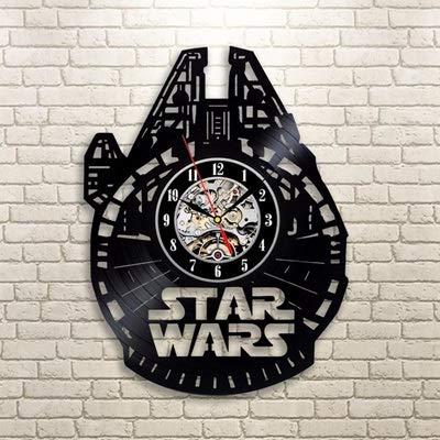 YSYSZYN Reloj Vendimia récord de Vinilo Reloj de Pared diseño Moderno originativo Etiquetas 3D de la película Tema Estrella guerras Relojes Colgando Pared Reloj Placa decoración (Color : 5)