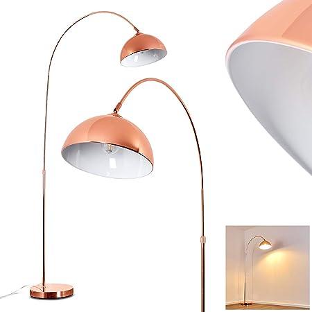 Lampadaire Tipitapa en métal cuivré/blanc, lampe sur pied moderne à hauteur réglable et interrupteur sur le câble pour 1 ampoule E27 max. 40 Watt, compatible ampoules LED