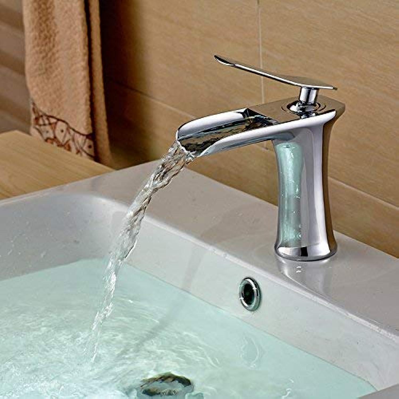 ZHAS Bad Waschbecken Wasserhahn heies und kaltes Wasser Mischbatterie Alle Kupferbecken Wasserfall hei und kalt Einlochmontage Wasserhahn