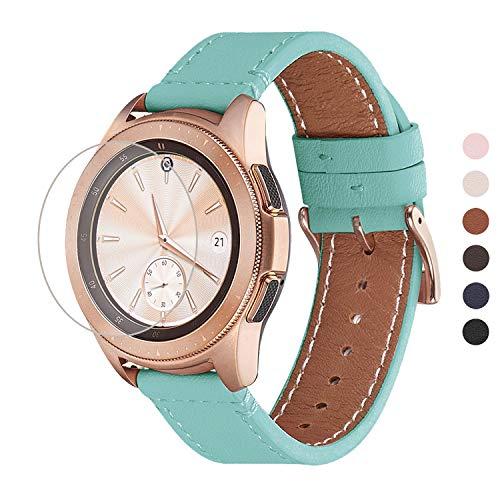 WFEAGL Kompatibel mit Samsung Galaxy Watch Armband 42mm/Gear S2 Classic/Gear Sport/Huawei Watch 2/Huawei Watch GT Elegant,20mm Top Grain Leder Ersatzband(20mm,Tiffany/Golden)