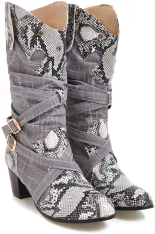 Webb Perkin Women Hemp Upper Snake Print Pu Buckle Strap High Square Heels Round Toe Autumn shoes Lady Fashion Mid Calf Boots