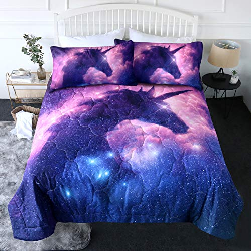 Blessliving 3 Piece Galaxy Unicorn Comforter Set with Pillow Shams Space Bedding Set 3D Reversible Comforter Twin Size Bedding Sets for Teen Girls Soft Comfortable Machine Washable Purple Blue Pink