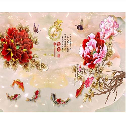 Dalxsh Aangepaste behang kleur gesneden pioenroos bloem naar huis en rijk TV achtergrond wooncultuur achtergrond muren muurschilderingen 3D-behang 200 x 140 cm.