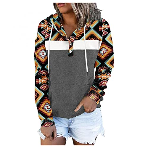 Hoodies for Women Pullover, Womens Casual Button Hooded Sweatshirts Fashion Hoodie Sweatshirt Splicing Pullover Tops Gray