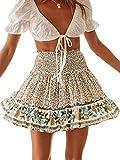 BerryGo Womens Boho Floral High Waist Ruffle A-line Mini Skirt Navy Blue-S
