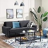 VASAGLE Sofa 3 Sitzer, Couch mit Bezug aus Samt, 176 x 83 x 84 cm, Polstermöbel für kleine Wohnungen, Gästezimmer, Jugendzimmer, Holzgestell, einfacher Aufbau, grau, LCS50GY - 4