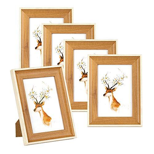 EKKONG Bilderrahmen, 5er Foto Bilderrahmen Holz(10X15cm), Fotogalerie Rahmen aus Holz, Plexiglas, Metall-AufhäNgung, für Bilderwand Fotogeschenke Geschenkes