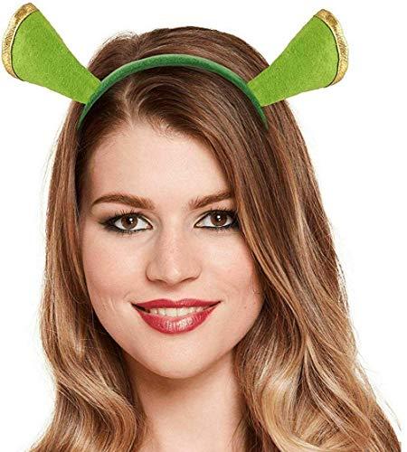 Erwachsene Shrek Stütze Grün Ungeheuer Ohren Stirnband Fiona Unisex Kinder Stag Junggesellinnenabschied Kostüm Outfit Accessoire - Stirnband Ungeheuer, One Size