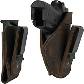 Barsony Brown Tuckable Inside The Waistband Holster + Magazine Pouch for Mini/Pocket .22 .25 .380 Pistols