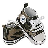 Zapatillas de Lona para Bebé Recién Nacido de 3 a 18 Meses Zapatos de Fondo Suave con Cordón Primeros Pasos de Primavera Otoño para Niños Niñas Pequeños (Camuflaje, 6-12 Meses)