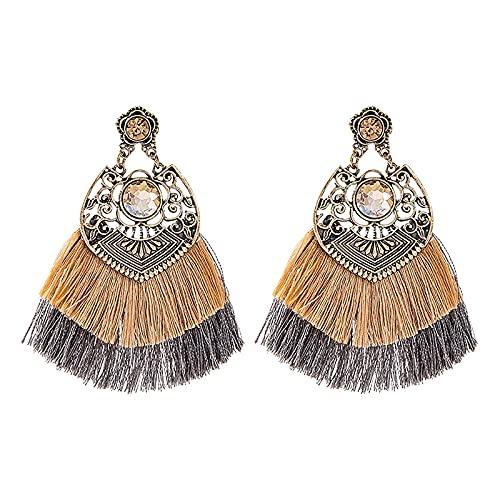 TYXL Pendientes de mujer de moda con diamantes huecos de aleación con flecos dobles de colores de estilo étnico, Pendientes personalizados con colgante de flecos apasionados retro creativos
